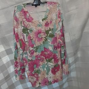 Cable and Gauge Floral  Cardigan  Large